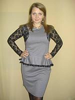 Платье трикотажное с гипюром, фото 1