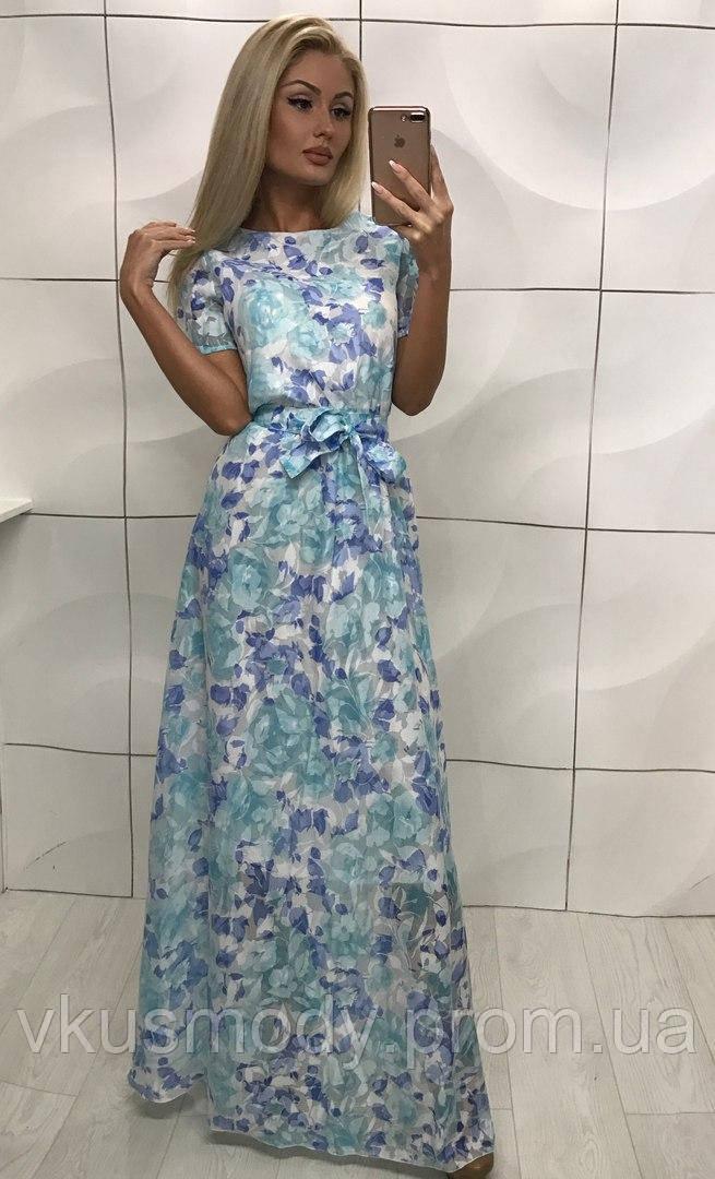 4581c430e8e Женское нарядное летнее платье в пол ткань лен органза -