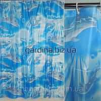 Шторка для ванной и душа ( штора занавеска миранда) голубая с дельфинами 170х180