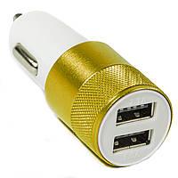 Зарядное устройство автомобильное USBx2 (2А/1А) metall Золотистое в прикуриватель для планшета смартфона