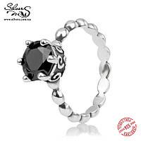 """Серебряное кольцо Пандора (Pandora) """"Черный шпинель"""""""