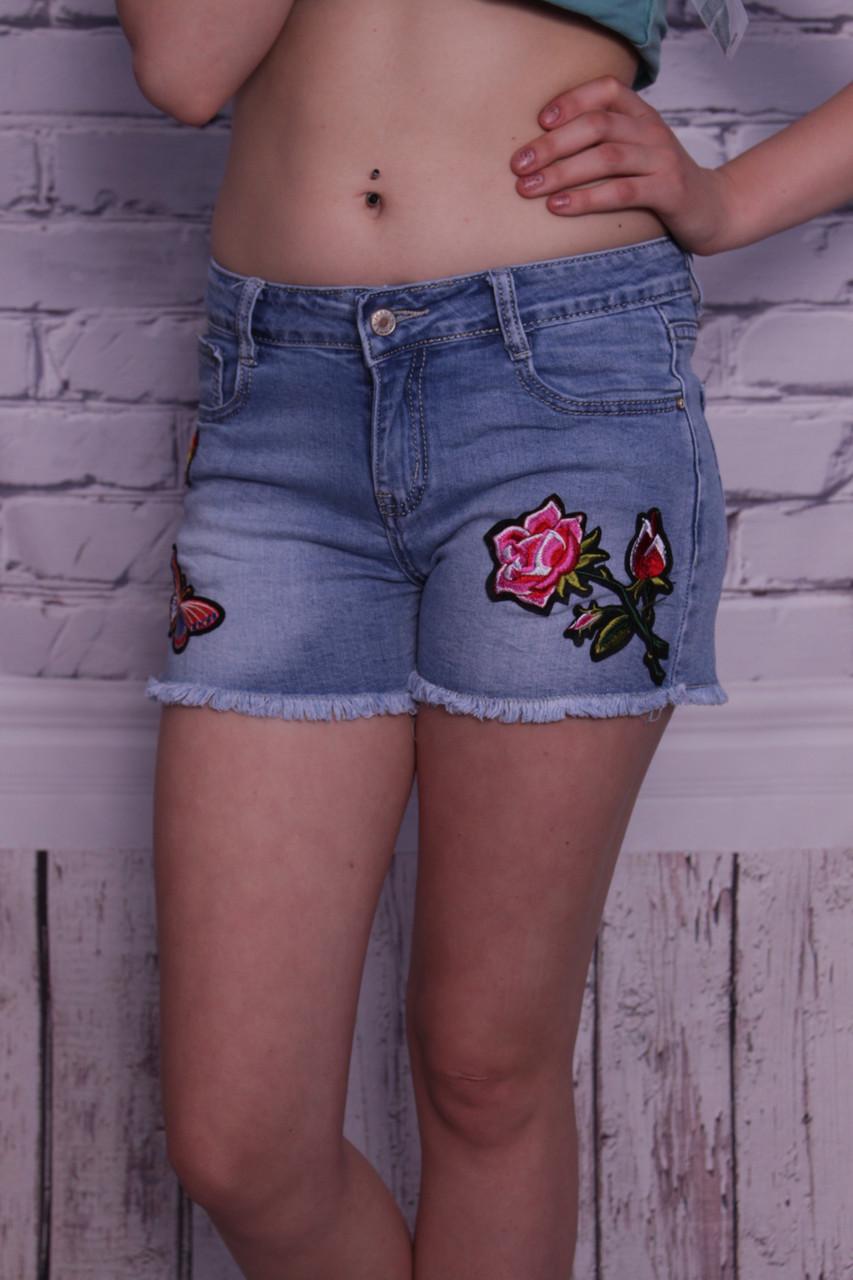 Стильные женские шорты с вышивкой (код 8724)