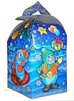 """Новогодняя упаковка из картона под кондитерские изделия НОВИНКА на 2017 """"Веселые снеговики 1000г."""""""