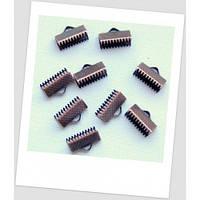 Концевик-зажим для лент металлический, 13х8 мм, цвет медный.