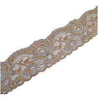 Лента органза с вышивкой золотом серая, 5,5 см