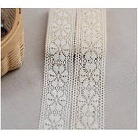 Кружево тонкое Цветочек белый, хлопок, 2,5 см