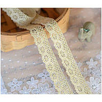 Кружево с золотой нитью хлопок, 2 см