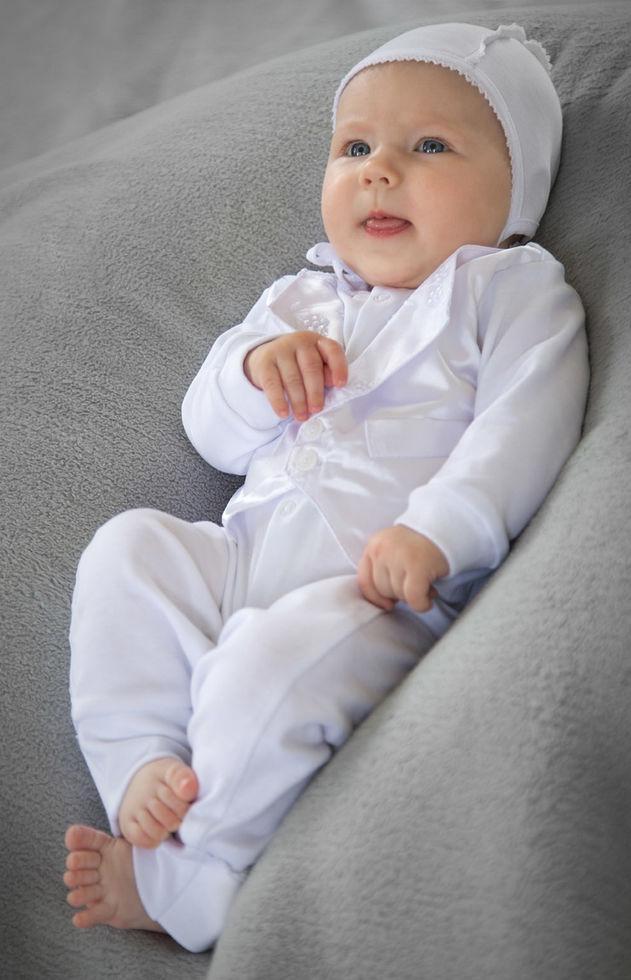 Комплект крестильный для мальчика (комбинезон-человечек, шапочка) р. 62-74 Модный карапуз 03-00454-0