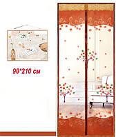 Антимоскитные сетки кофейный цвет c рисунком на двери на магнитах. 90x210см.