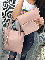 Практичная вместительная женская сумка клатч кошелёк 3 в 1 пудра розовая