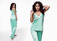 """Женская стильная пижама майка + брюки 983 """"Атлас Кружево"""" в расцветках"""