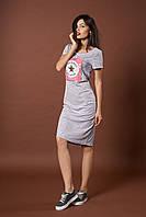 Трикотажное платье converse. Код модели Л-38-44.1-17. Цвет серый меланж.