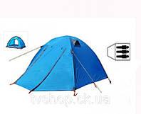 Палатка 3-х местная с тентом и коридором SY-A15 (р-р 0,7+2,10+0,5*1,80*1,35м, нейлон)