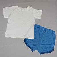 Летний комплект на мальчика 3-4 года: футболка и  голубые шорты