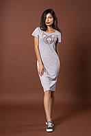 Трикотажное платье с пайетками. Код модели Л-38-44.2-17. Цвет серый меланж.
