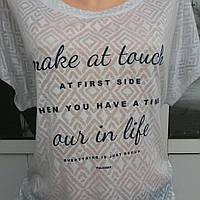 Женская молодежная футболка туника больших размеров из миланжированного хлопка