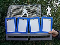 Медальница для футбола с рамками для фото.Изготовлено из фанеры толщиной 8 мм, размеры 500 на 400 мм