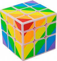 Кубик головоломка 3x3х3 радужный белый пластик YJ (YJBDJ1)