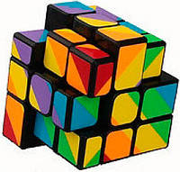Кубик головоломка 3x3х3 радужный черный пластик YJ (YJBDJ2)