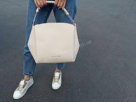 Кожаная женская сумка Philipp Plein бежевая 1161