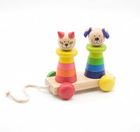 Пирамидка каталка Кот и собака Мир деревянных игрушек (Д353)