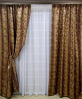 """Готовый комплект штор """"Ричард""""  коричневый + тюль 3м"""