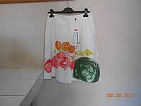 Белая юбка из льна с рисунком