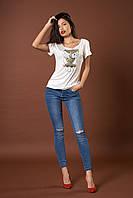 Трикотажная футболка с пайетками. Код модели Л-39-44.2-17. Цвет белый.