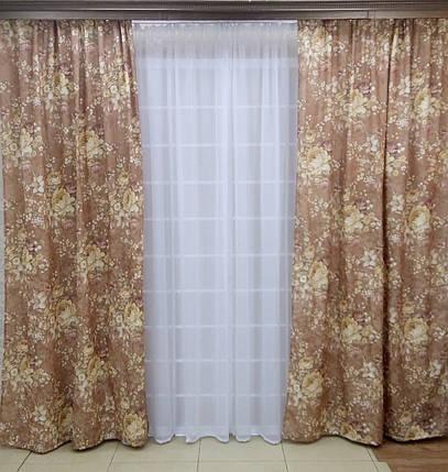 """Готовый комплект штор """"Прованская роза"""" коричневые, фото 2"""