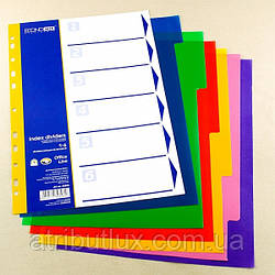Разделитель листов А4 пластик (6 разделов) цветной