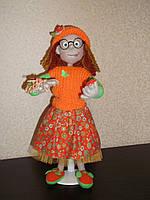 Интерьерная  авторская текстильная кукла ручной работы Юная натуралистка