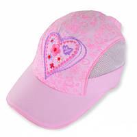 Бейсболка для девочки с сеткой, вышивка Сердце