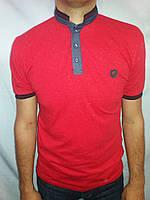 Мужская футболка воротник стойка красная