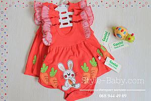 Детский бодик для девочки Зайчик с морковкой рост 50,56,62 см