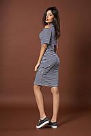 Стильное трикотажное полосатое платье. Код модели Л-41-52-17. Цвет синий.