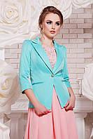 Летний женский пиджак на одной пуговице, с карманами и рукавом три четверти цвет мята Леонора-М