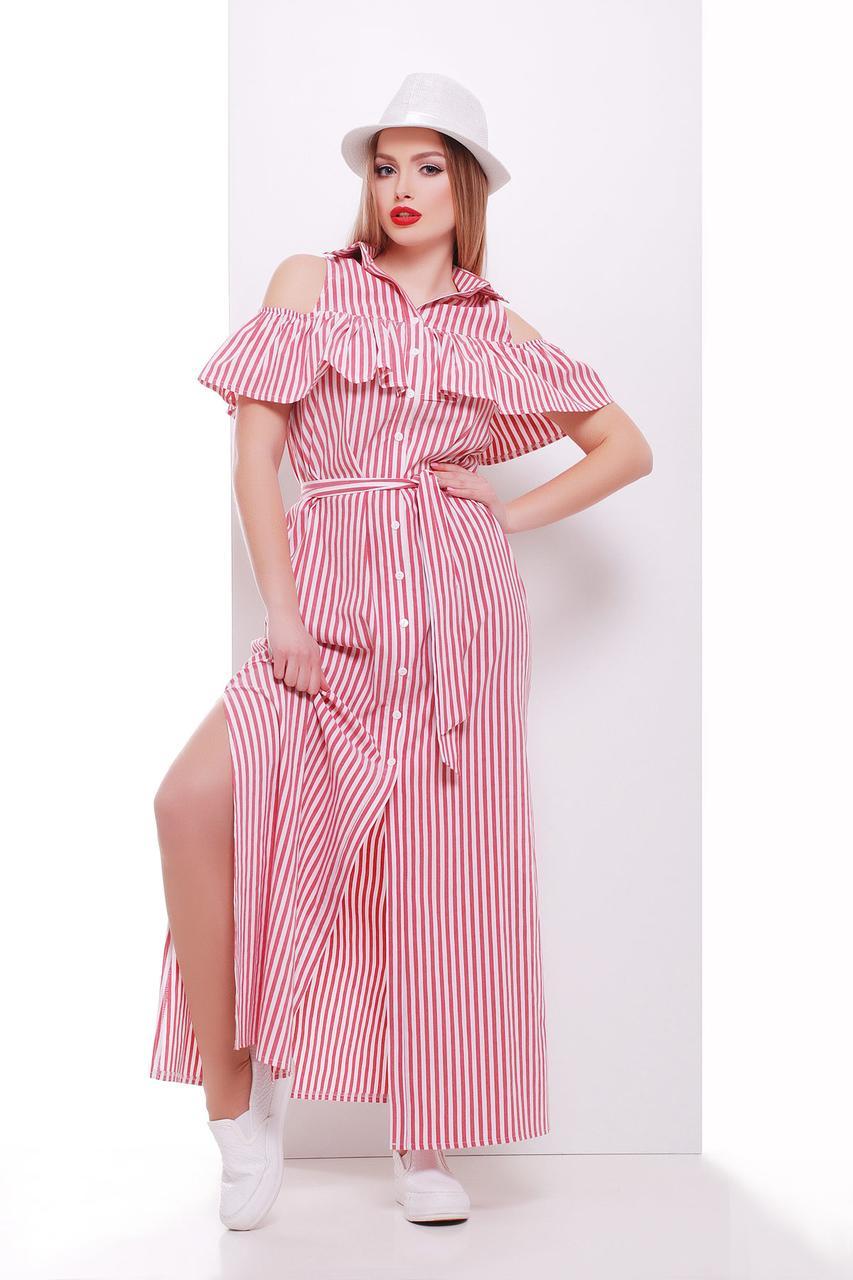 Длинное летнее платье в красную полоску сукня Лаванья б/р