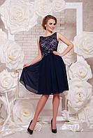 Летнее синее платье без рукава гепюровый верх сукня Настасья б/р