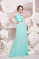 Платье в пол с верхом из эко кожи и свободной юбкой цвет мята сукня Финикс б/р