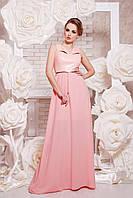 Платье в пол с верхом из эко кожи и свободной юбкой цвет персик сукня Финикс б/р
