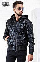 Качественная мужская куртка из кожзама, с капюшоном, еврозима