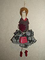 Интерьерная авторская текстильная кукла ручной работы Гламурная мадам