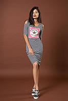 Стильное трикотажное полосатое платье с пайетками. Код модели Л-42-52-17. Цвет синий.