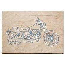 """Фанера с контуром для выжигания """"Мотоцикл"""""""