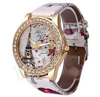Женские часы со стразами Paris Белый ремешок