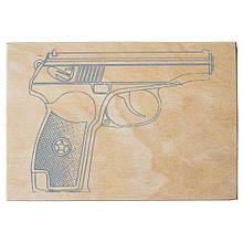 """Фанера с контуром для выжигания """"Пистолет"""""""