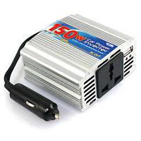 Инвертор автомобильный компактный 12/230V 150/300 Вт+USB