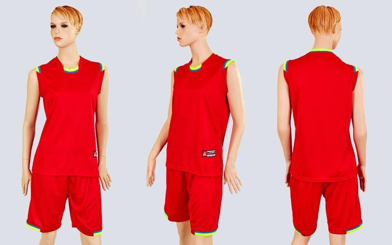 Форма баскетбольна жіноча Reward LD-8096W-R (полизстер, р-р L-2XL, червоний -блакитний)