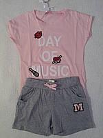 Комплект трикотажный футболка+шорты для девочки р.140/146 F&D