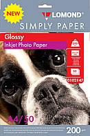 Бумага для струйных принтеров глянцевая Lomond 200 г/м, (эконом), А4 50л.